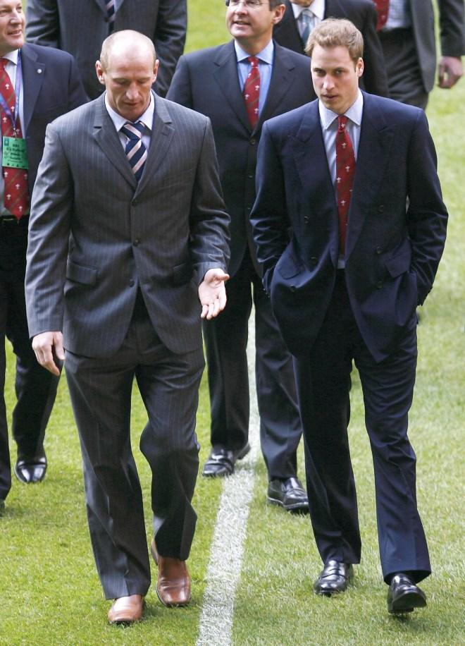 Prince William speaks with Gareth at the Millennium Stadium, Cardiff on February 4, 2007