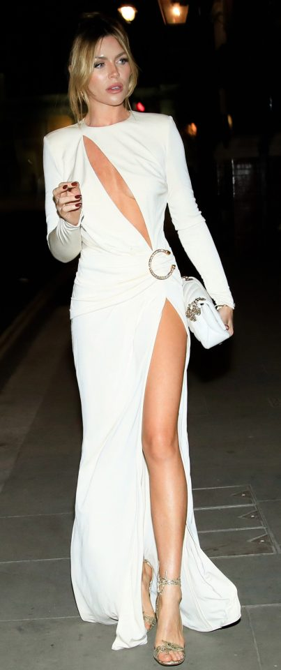 Abbey Clancy looked phenomenal in the revealing white gown