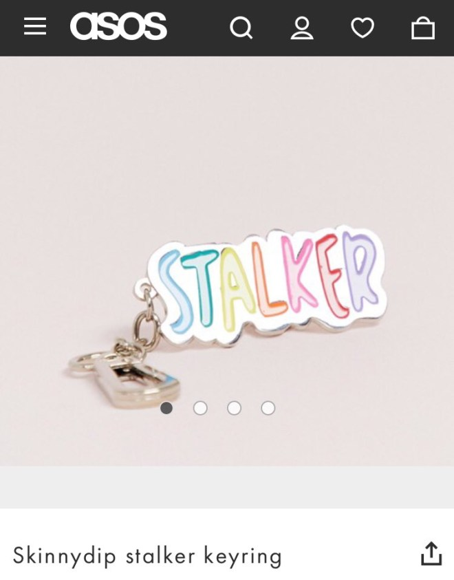 This is the keychain an anti-stalking charity called Asos out for selling on their website