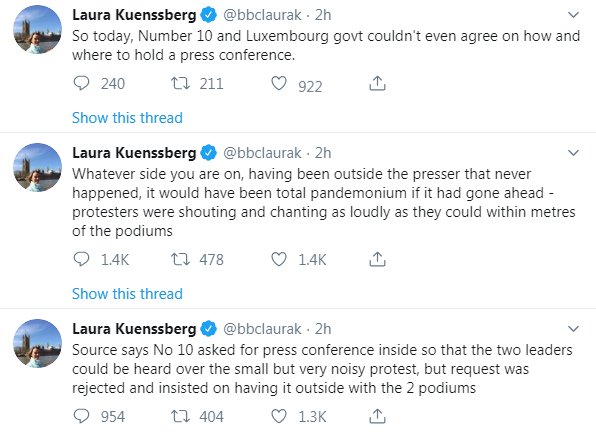 BBC political editor Laura Kuenssberg tweeted that the press conference would have been total pandemonium