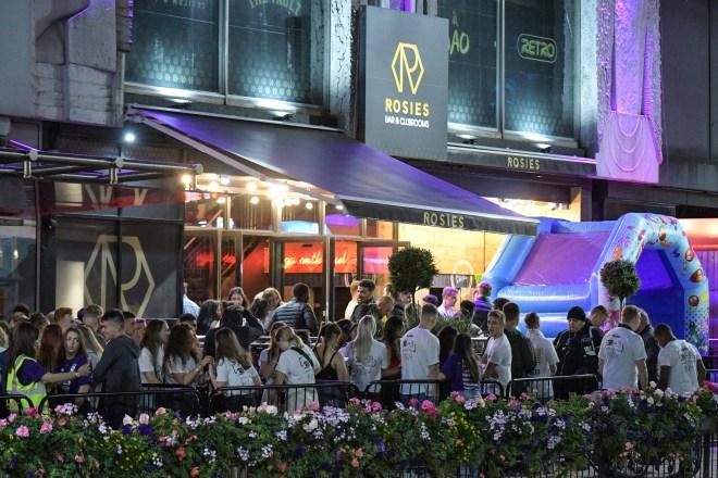 A queue of students outside Rosies nightclub in Birmingham