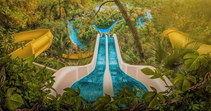 The park has four slides which are suitable for adults and kids