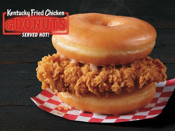 KFC is selling fried chicken sandwiched between two glazed donuts