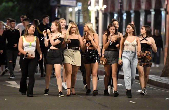 These women step out with thousands of the others during the 'Big Night Out' pub crawl