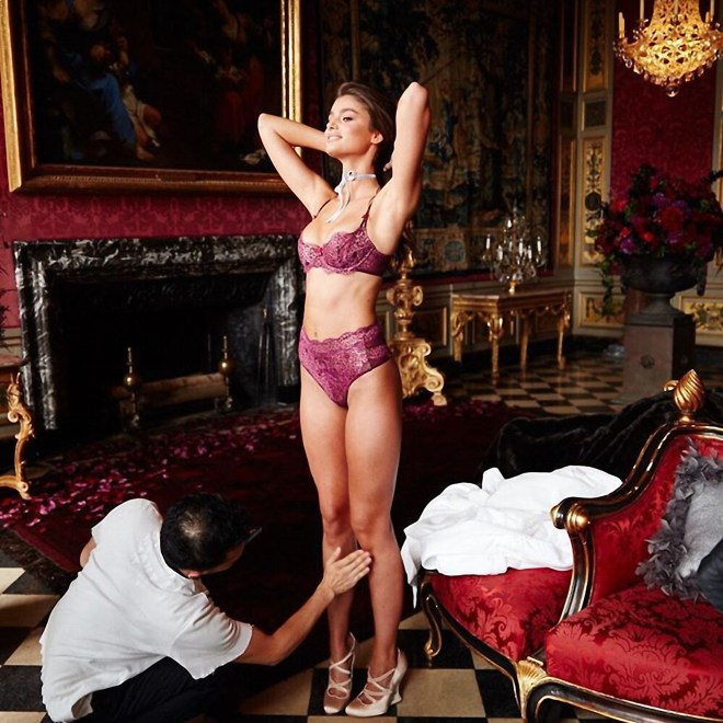 Victoria's Secret model Taylor Hill preparing for a shoot at the palace