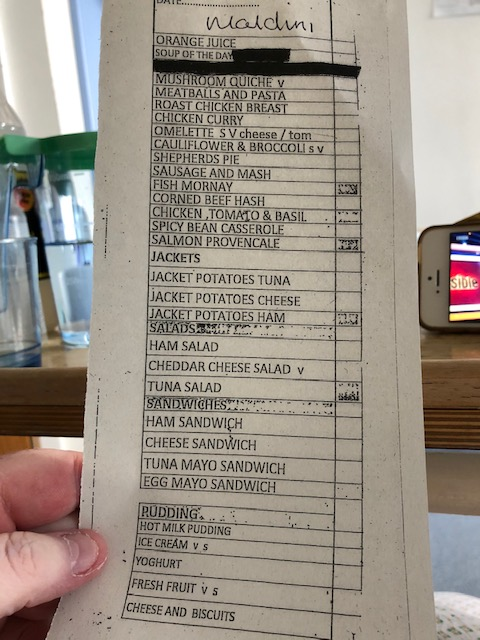 This is the food menu from the hospital where Shirley was staying
