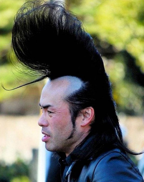 This hair style is reaching for the sky