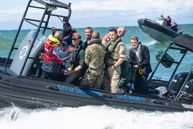 The duke travelled on a South African Maritime Police Unit RIB