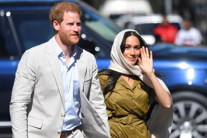 Prince Harry and Meghan Markle arrive at the mosque this afternoon