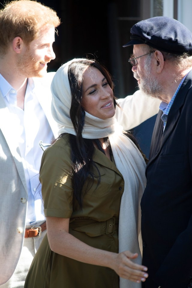 Meghan and Harry met Father Lapsley, an Anglican and equal rights campaigner who lost both hands and the sight in one eye in a letter bomb sent by the Civil Cooperation Bureau, a covert outfit of the apartheid security forces