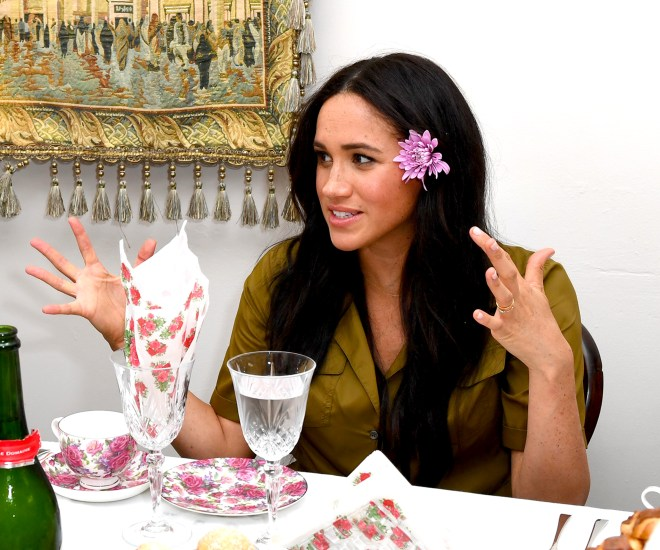 Meghan Markle appeared to be speaking passionately during tea