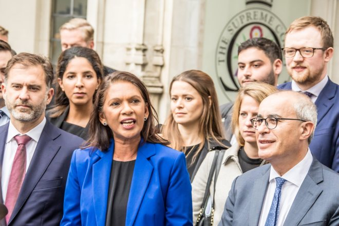 Gina Miller, who brought the Supreme Court case against the Government, celebrated outside the court alongside other campaigners