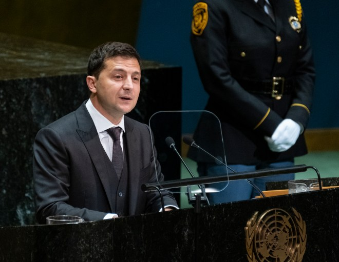 Ukrainian President Volodymyr Zelenskiy addresses the 74th session of the United Nations General Assembly,