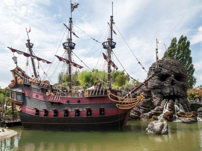 The trippy tourist fell into the lake which is home to Skull Island and Captain Hook's ship