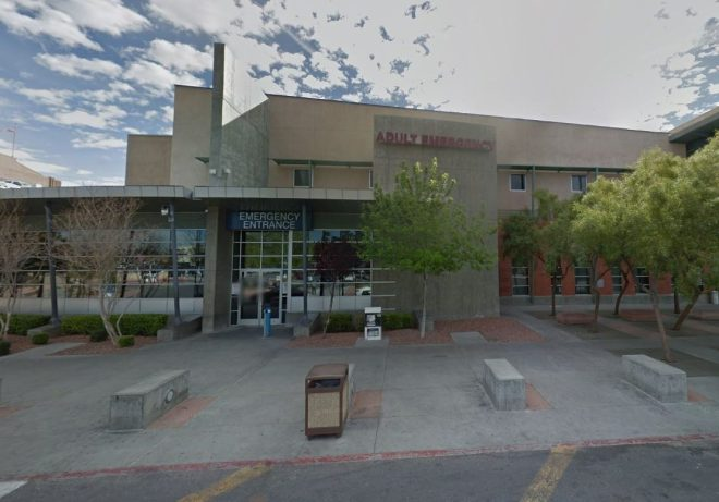 The rapper was taken to the University Medical Center, Las Vegas, after being shot