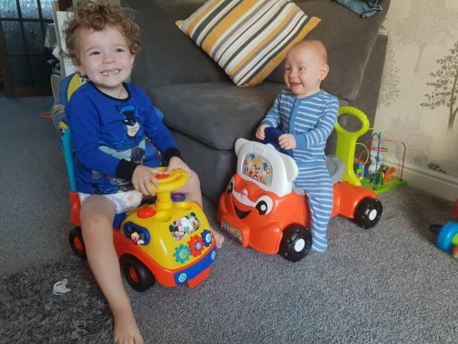 Baby Haris at home with his brother Elias, 2, in March 2019
