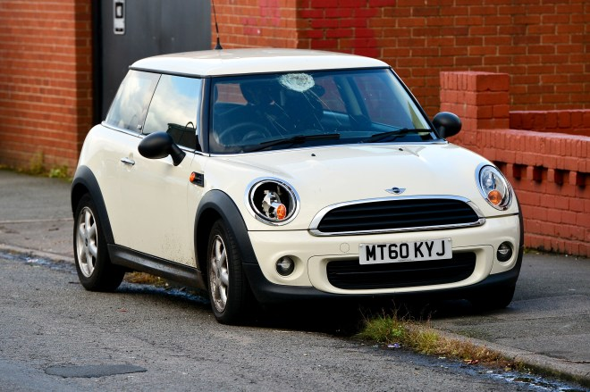 The white Mini involved in the hit-and-run was abandoned nearby