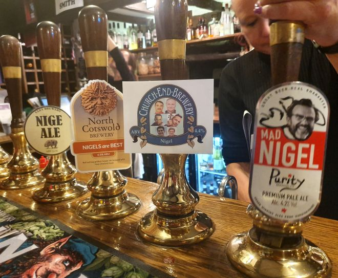 Specially-brewed ales were on offer including Nigel, NigAle, Mad Nigel and Nigel's Best