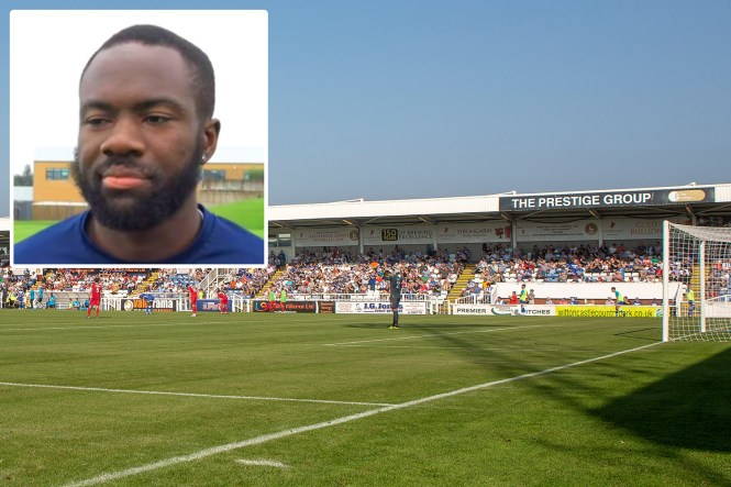 Gus Mustafa tried to jump into the crowd to tackle his own supporters after Dover players suffered racist abuse at Hartlepool