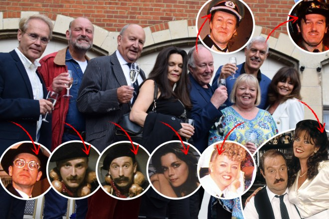 'Allo 'Allo cast: (L-R) Richard Gibson as Herr Flick, Nicholas Frankau as Flight Lieutenant Carstairs, John D Collins as Flight Lieutenant Fairfax, Francesca Gonshaw as Maria, Guy Siner as Lieutenant Gruber, Sue Hodge as Mimi, Arthur Bostrom as Officer Crabtree, Vicki Michelle as Yvette, and Gordon Kaye as Rene