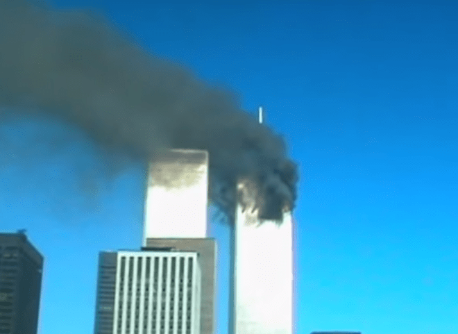 Caroline started filing when she saw smoke pouring out of the first tower