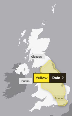The Met Office has issued a yellow weather warning to last until 10pm for past of England and Wales