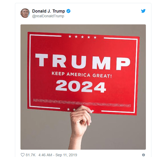 The tweet hints the president is seeking a third term in office