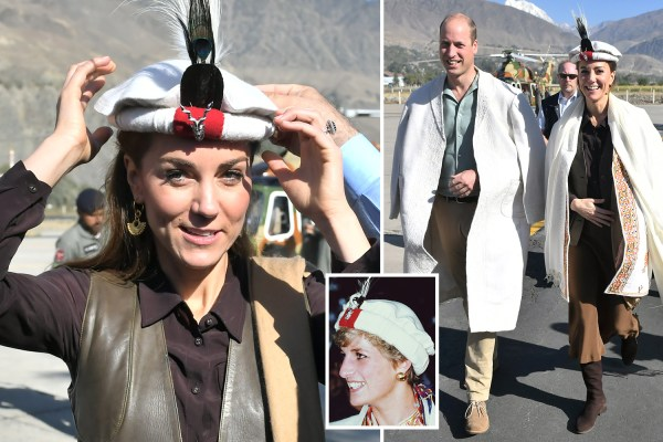Kate Middleton and Prince William wear traditional Chitrali hats on visit to Hindu Kush - just like mum Di 28 years ago