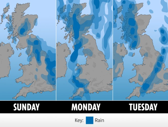 This weather map shows where rain is predicted to fall