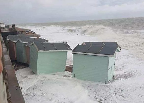Council beach huts were washed away in a storm at St Leonards, Sussex