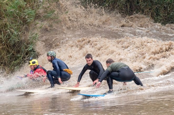 Daring surfers in Minsterworth, Gloucestershire, rode the River Severn's tidal bore