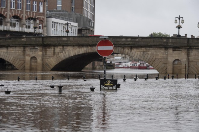 The River Ouse in York City Centre broke its banks after heavy rainfall overnight