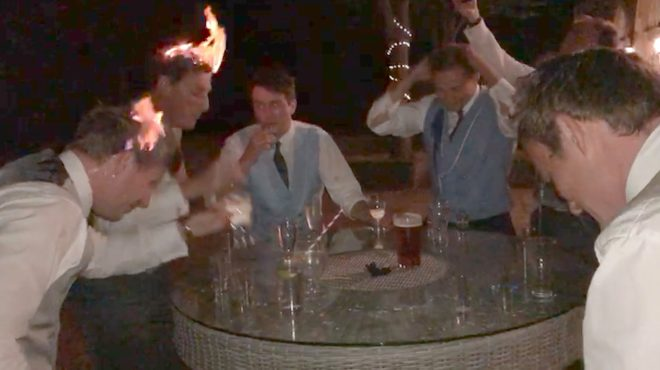 Wedding guests set their heads on fire with sambuca