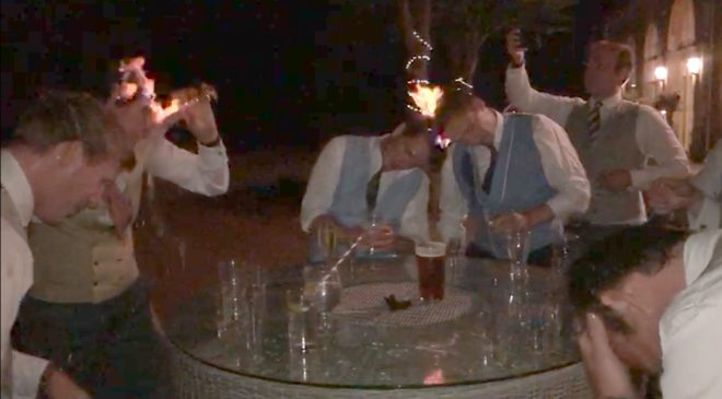 The dangerous drinking game was filmed at a posh wedding