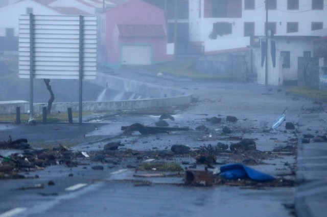 Debris scattered across the Portuguese island of Faial today from Hurricane Lorenzo