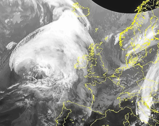 A satellite image showing the massive storm heading for the British Isles