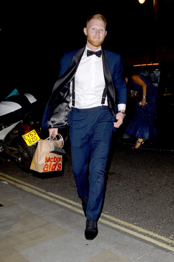 Stokes was pictured getting a late-night McDonald's after the bash