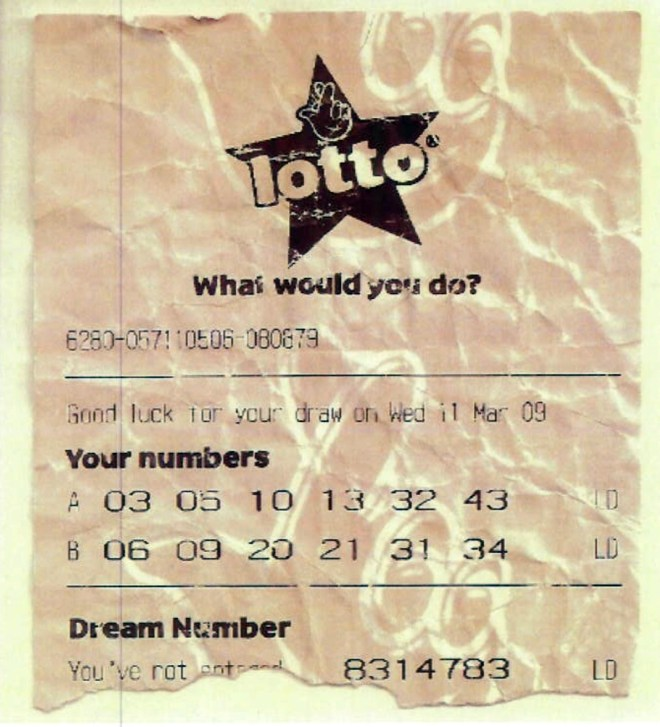The fake lotto ticket used in the con