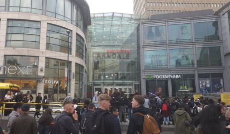 Crowds of people could be seen outside the shopping centre