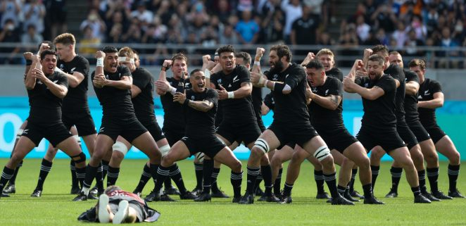 The All Blacks performing a pre-game haka before crushing Namibia 71-9 in Tokyo in the World Cup earlier this month