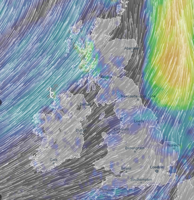 The UK is set to brace for seven days of heavy rain, as this weather map for Tuesday afternoon shows