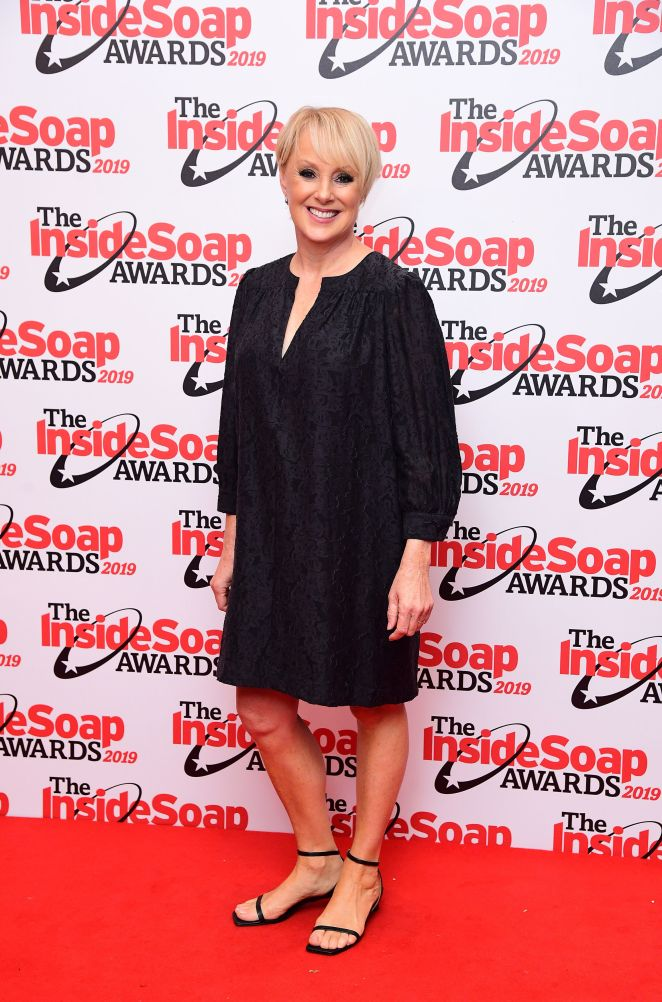 Sally Dynevor smiled for the cameras