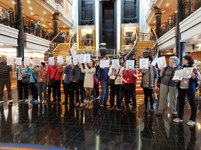 Cruise-goers have staged a mutiny on board the Norwegian Spirit