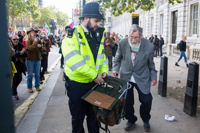 John Lynes, 91, was arrested during yesterday's protests
