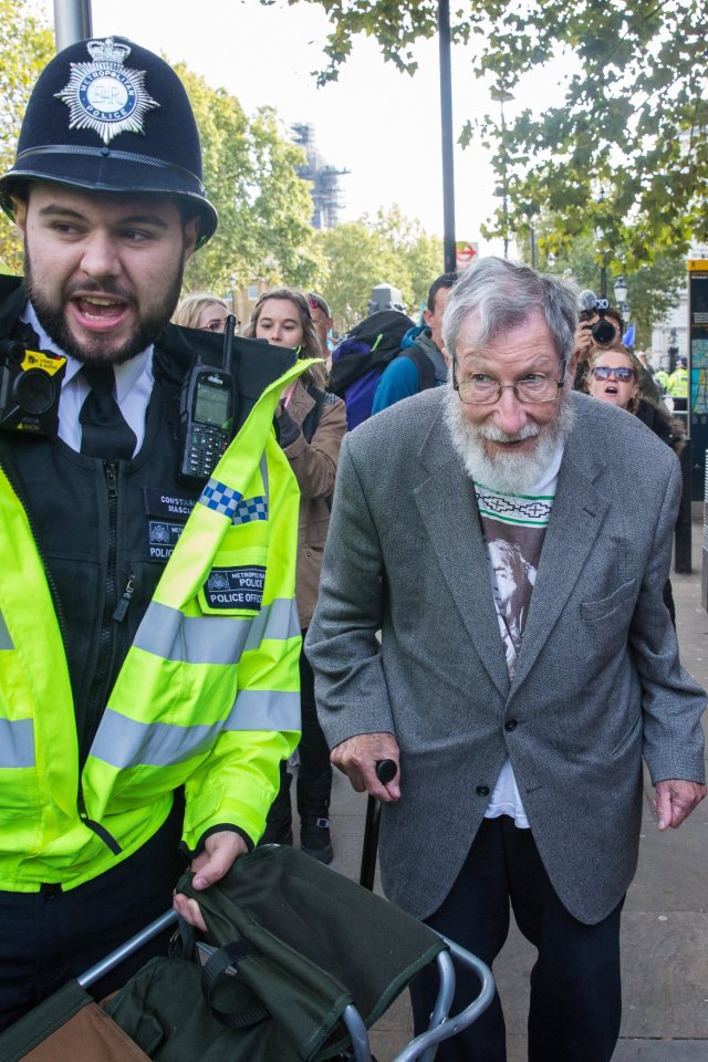 The eldest detainee, John Lynes, 91, who was protesting outside the Cabinet Office