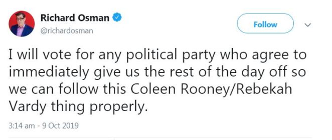 Pointless host Richard Osman even waded in, saying he'd vote for any party that'd give us the day off to follow the drama