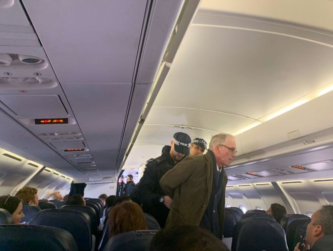 The Extinction Rebellion protester lectured fellow passengers on climate change on the Aer Lingus flight