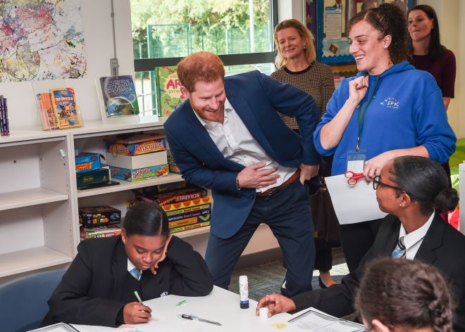 Prince Harry joked with students during his visit to a Nottingham school today
