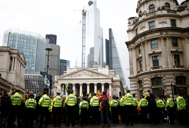 At least 50 police outside the Bank of England this morning
