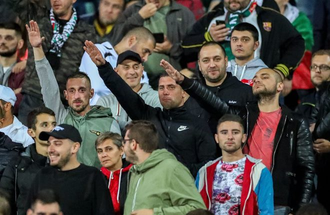 Smirking Bulgarian fans give Nazi salutes last night